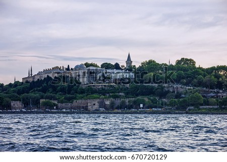 Istanbul sea front view on Topkapi palace, Bosporus, Turkey.