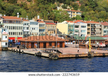 ISTANBUL - SEP 25, 2013: Beykoz Ferry Pier. Beykoz region in one of the most pleasant and peaceful northbound districts in Istanbul, - stock photo