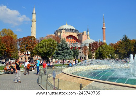 ISTANBUL SEPT. 30: Hagia Sophia in Istanbul on sept. 30, 2013 in Istanbul, Turkey. Hagia Sophia is a former Orthodox patriarchal basilica, later a mosque, and now a museum  - stock photo