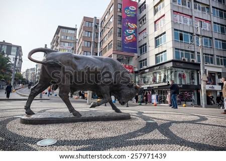 ISTANBUL - SEPTEMBER 21 2014 : Bull statue at the Kadikoy square.