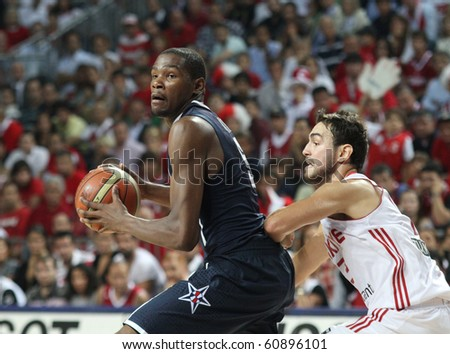 ISTANBUL - SEPTEMBER 13: Kevin Durant drives to the basket in FIBA World Championship Final between USA and Turkey  on September 13, 2010 in Istanbul