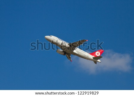 ISTANBUL - SEPTEMBER 08: Turkish Airlines Airbus A319 take off from IST on September 08, 2012 in Istanbul, Turkey. THY operates scheduled services to 160 international and 41 domestic cities. - stock photo