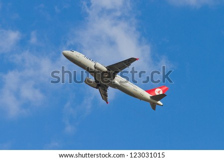 ISTANBUL - SEPTEMBER 08: Turkish Airlines Airbus A320 takeoff from IST on September 08, 2012 in Istanbul, Turkey. THY carried 32 m passengers on 2011, the 4th most passenger-carrying airline of Europe - stock photo