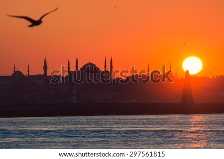 Istanbul silhouette with hagia sophia - stock photo