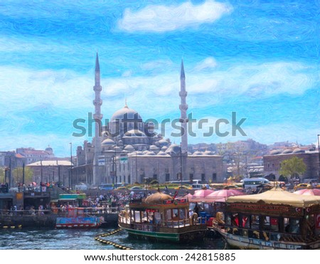 Istanbul sketches series. Imitation of drawing - stock photo