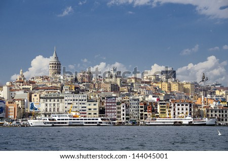 Istanbul skyline with Galata Tower.