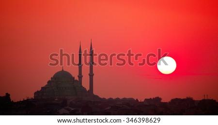 Istanbul sunset - stock photo