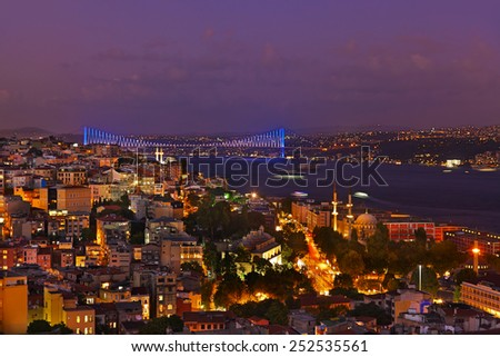 Istanbul sunset panorama - Turkey travel background - stock photo