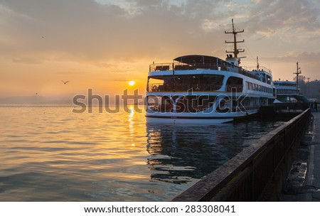 Istanbul, sunset, ship at sea , seagull - stock photo