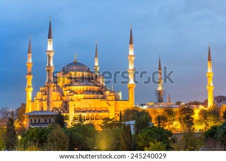 Istanbul. The Blue Mosque illuminated at dusk. - stock photo