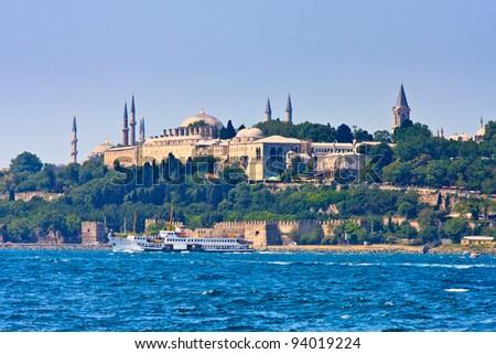 Istanbul Topkapi Palace on the Golden Horn, Turkey - stock photo