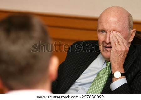 ISTANBUL, TURKEY - APRIL 19: American business executive, author and engineer Jack Welch on April 19, 2008 in Istanbul, Turkey. He was chairman and CEO of General Electric between 1981 and 2001. - stock photo