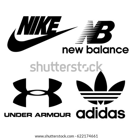 Istanbul, Turkey - April 17, 2017: Collection of popular sports brand logos printed on paper: Nike, New Balance, Under Armour, Adidas.