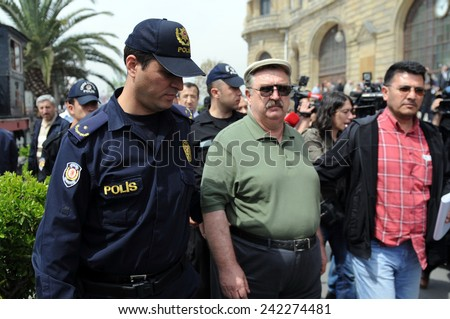 ISTANBUL,TURKEY-APRIL  24:Commemoration ceremony organized by The Say Stop to Racism and Nationalism initiative was held for the anniversary of the Armenian Genocide   April 24,2010 in Istanbul,Turkey - stock photo