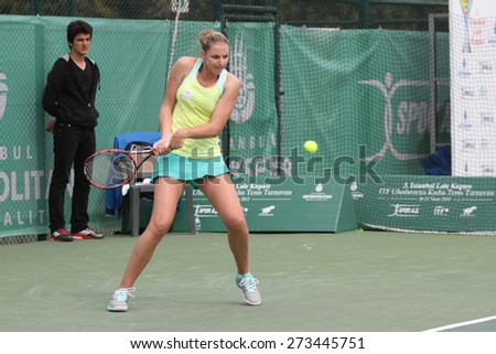 ISTANBUL, TURKEY - APRIL 25, 2015: Czech player Kristyna Pliskova in action during Semi Final match against Russian player Margarita Gasparyan in 2015 Istanbul Lale Cup