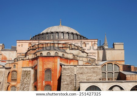 ISTANBUL, TURKEY - April 28: Decorative exterior of Hagia Sophia museum April 28, 2013 in Istanbul, Turkey. Hagia Sophia is former Orthodox patriarchal basilica, later a mosque and now a museum.