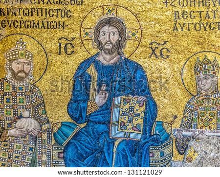 ISTANBUL, TURKEY - APRIL 10: Emperor Constantine, Jesus Christ and Empress Zoe. A Byzantine mosaic in the interior of Hagia Sophia, on April 10, 2011 in Istanbul. - stock photo