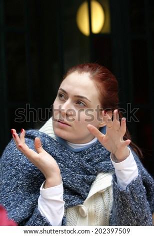 ISTANBUL, TURKEY - APRIL 13: Famous Turkish actress, television series star and movie star Ceyda Duvenci portrait on April 13, 2008 in Istanbul, Turkey. - stock photo