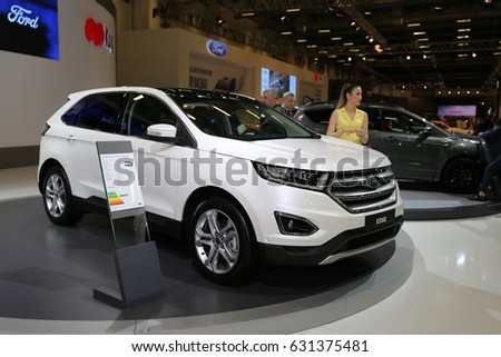 ISTANBUL, TURKEY - APRIL 22, 2017: Ford Edge on display at Autoshow Istanbul