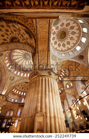 ISTANBUL, TURKEY - April 28: Interior decoration of the dome of Blue Mosque on April 28, 2013 in Istanbul. The Mosque was built from 1609 to 1616, during the rule of Sultan Ahmed I.