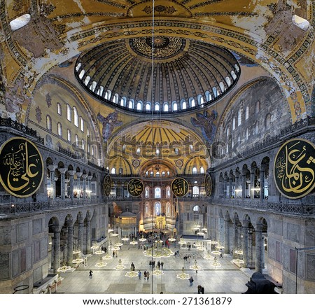 ISTANBUL, TURKEY - APRIL 2, 2011: Interior of the Hagia Sophia. The Hagia Sophia was built in 537 as Eastern Orthodox cathedral, converted into a mosque in 1453 and became a museum in 1935. - stock photo