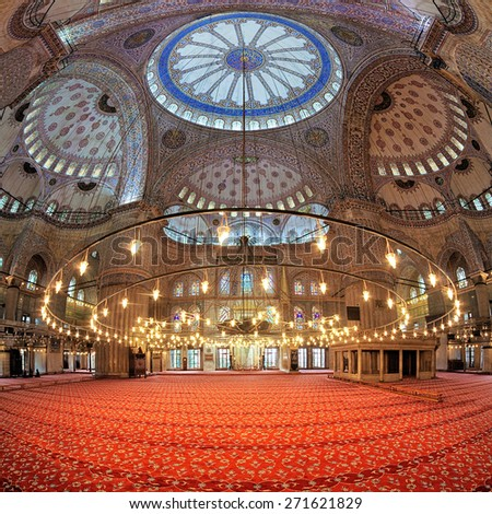 ISTANBUL, TURKEY - APRIL 2, 2011: Interior of the Sultan Ahmed Mosque (Blue Mosque). The mosque was built in 1609-1616 by design of architect Sedefkar Mehmed Agha during the rule of sultan Ahmed I. - stock photo
