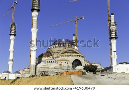 ISTANBUL, TURKEY - APRIL 13, 2016: New Camlica Mosque closeup, Camlica Cami in Turkish. Camlica mosque is still under construction which is the largest mosque on Camlica hill in Istanbul, Turkey.