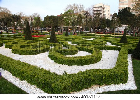 ISTANBUL, TURKEY - APRIL 4: People walking at Goztepe Garden Park on April 4, 2014 in Istanbul, Turkey. - stock photo
