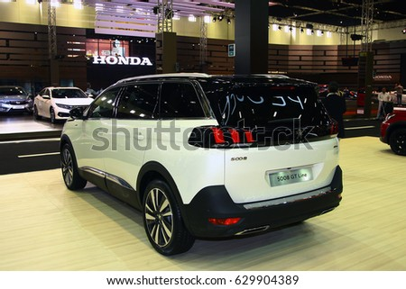 ISTANBUL, TURKEY - APRIL 2017: Peugeot 5008 GT Line model in Istanbul Autoshow 2017
