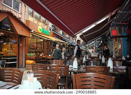 ISTANBUL, TURKEY - 15 APRIL, 2015: Restaurant in the Kadikoy District.