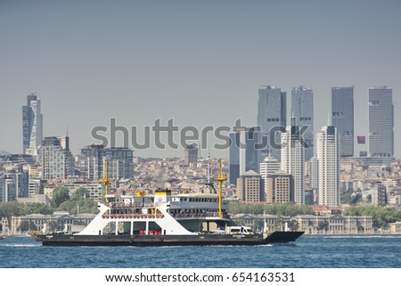 ISTANBUL, TURKEY, APRIL 22, 2016: Sehir Hatlari Ferry passing across Bosphorus, buildings from Besiktas district and Dolmabahce Palace can be seen at the background.