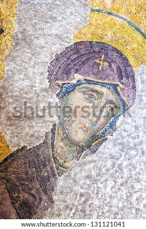 ISTANBUL, TURKEY - APRIL 10: The Virgin Mary, a Byzantine mosaic in the interior of Hagia Sophia, on April 10, 2011 in Istanbul. - stock photo