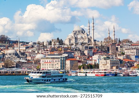 ISTANBUL, TURKEY - APRIL 10, 2015: view over the Golden Horn on the old town of Istanbul with the Sueleymaniye Mosque. Istanbul is the largest city in Turkey and a famous travel destination - stock photo