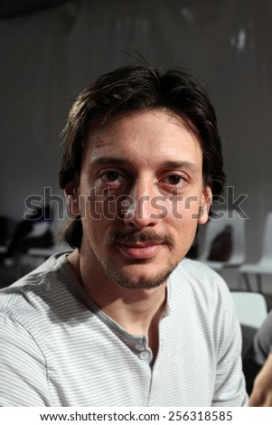 ISTANBUL, TURKEY - AUGUST 8: Famous Turkish actor, thespian and television series star Engin Hepileri portrait on August 8, 2011 in Istanbul, Turkey. - stock photo