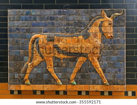 ISTANBUL, TURKEY - AUGUST 07, 2015: Istanbul Archaeological Museum  - A auroch from Ishtar Gate of Babylon.  The Ishtar Gate was built by King Nebuchadnezzar II in about 575 BC.  - stock photo