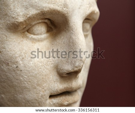 ISTANBUL, TURKEY - AUGUST 09, 2015: Istanbul Archaeological Museum - A bust of Alexander the Great from Pergamum, first half o f the 2nd Century BC. - stock photo