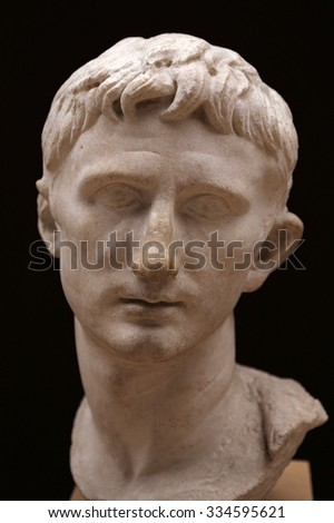 ISTANBUL, TURKEY - AUGUST 07, 2015: Istanbul Archaeological Museum - A bust of Emperor Augustus from Pergamum, dating from his reign.   - stock photo