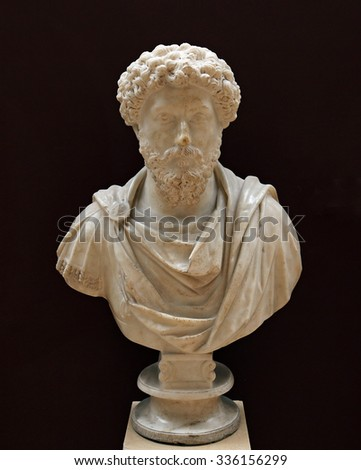 ISTANBUL, TURKEY - AUGUST 07, 2015: Istanbul Archaeological Museum A bust of Emperor Marcus Aurelius, dating from his reign.  - stock photo