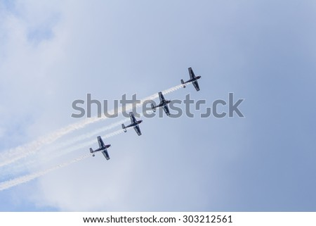 Istanbul, Turkey, August 2, 2015: Italian aerobatic group Team Pioneer performing their special Show on TATCA Fest.