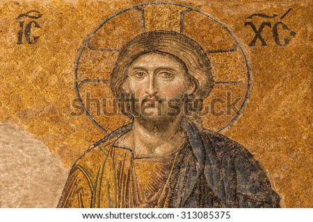 ISTANBUL, TURKEY - AUGUST 21: Jesus Christ Pantocrator in the Deesis of Hagia Sophia, a Byzantine mosaic dated about 1280, on August 21, 2014, in Istanbul, Turkey.