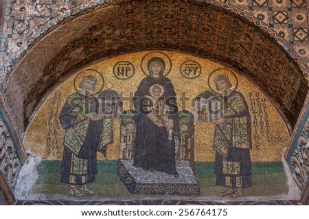 ISTANBUL, TURKEY - AUGUST 26: Mosaic of Virgin Mary inside the Hagia Sophia on January 23, 2015 in Istanbul, Turkey. Hagia Sophia is a former Orthodox basilica, later a mosque and now a museum. - stock photo