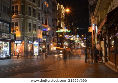 ISTANBUL, TURKEY, AUGUST 22, 2014: Night stroll in the streets of Istanbul from galata to Taksim through - istiklal caddesi  in Istanbul.