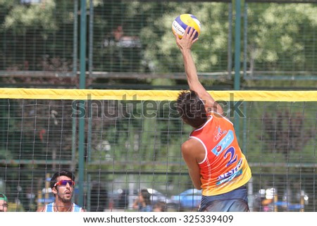 ISTANBUL, TURKEY - AUGUST 08, 2015: Participants in Kalamis Beach Volleyball court during Nestea Pro Beach Tour Kalamis Open