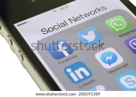 Istanbul, Turkey - August 01, 2014: Social networks, Facebook, Twitter, LinkedIn, Instagram, Skype and others on a smart phone - stock photo