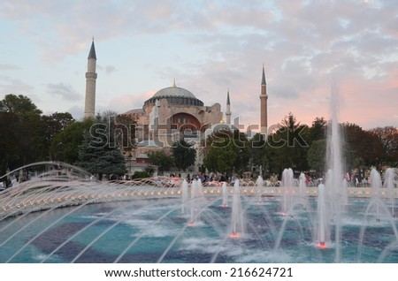 ISTANBUL, TURKEY, AUGUST 18, 2014: Sunset over hagia sophia in Istanbul.