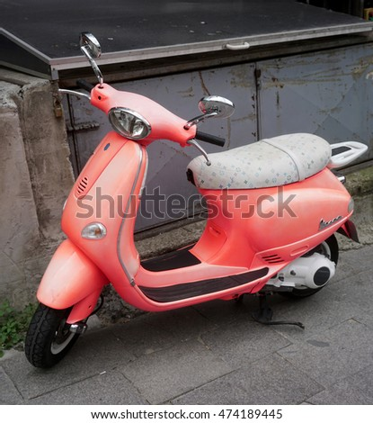 ISTANBUL, TURKEY - AUGUST 23, 2016:Vespa scooter in istanbul city.A Vespa Motorcycle is produced by Piaggio & Co. S.p.A. in Italy. This Vespa motorcycle has 150cc engine.