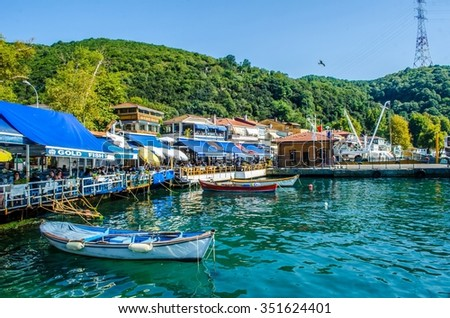 ISTANBUL, TURKEY, AUGUST 22, 2014: View over marina in anadolu kavagi village at the end of bosporus strait in istanbul - stock photo