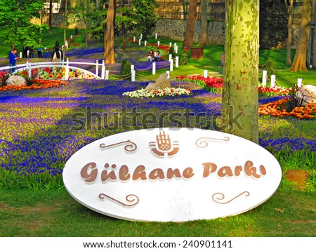 ISTANBUL, TURKEY -- CIRCA APRIL 2014: entrance in Gulhane Park from the Keneddy Caddesi street - stock photo