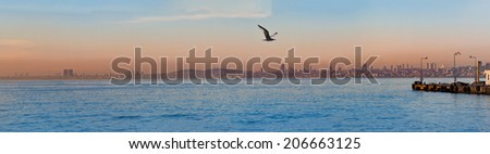 ISTANBUL, TURKEY -- CIRCA APRIL 2014: Evening panorama of the coastal  area of Istanbul from Burgazada - stock photo
