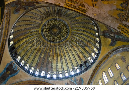 ISTANBUL,TURKEY - CIRCA AUGUST, 2012 - Central dome of  Hagia Sophia. The Hagia Sophia (also called Hagia Sofia or Ayasofya) interior architecture, famous Byzantine landmark in Istanbul, Turkey  - stock photo